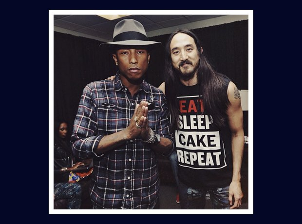 Pharrell Williams with Steve Aoki