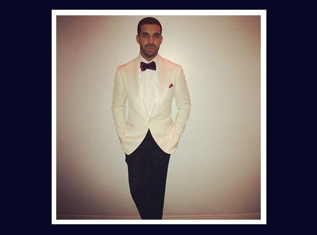 Drake in a white tuxedo