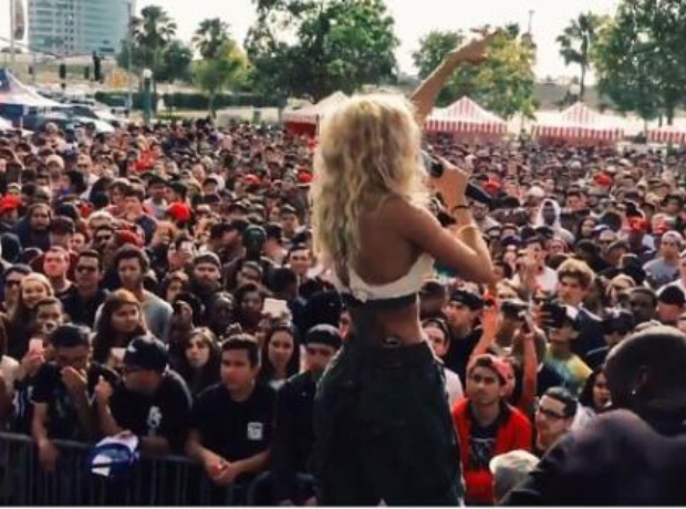 Pia Mia performing on stage