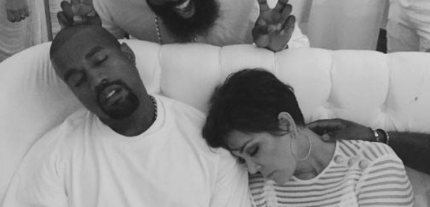 Kanye West and Kris Jenner asleep