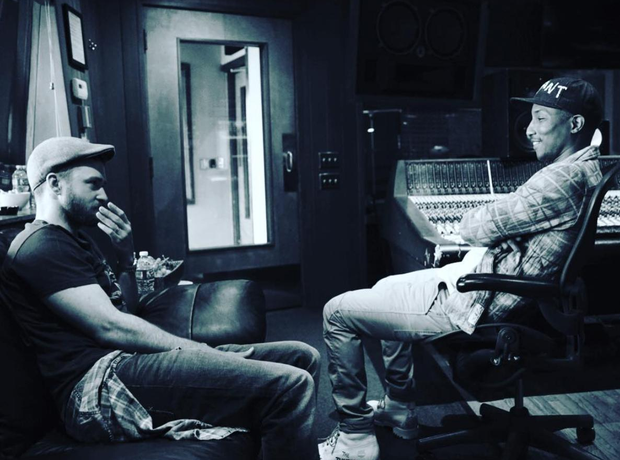 Justin Timberlake in the studio with Pharrell