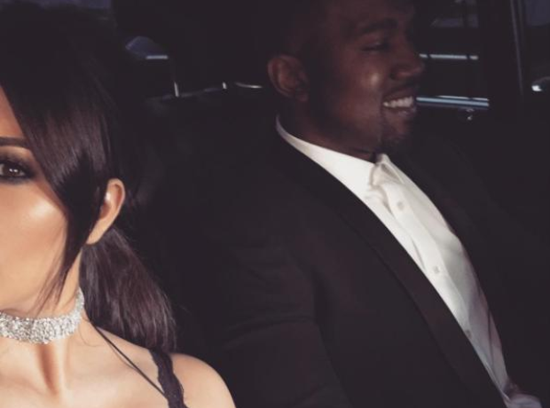 Kim Kardashian and Kanye West in car