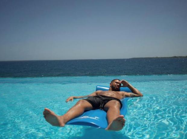 Drake in pool