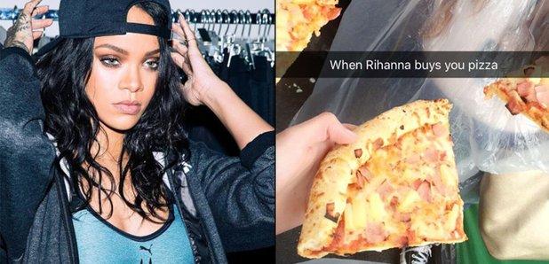 Rihanna buys fans pizza