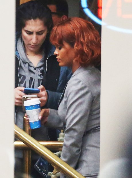Rihanna on set filming Bates Motel